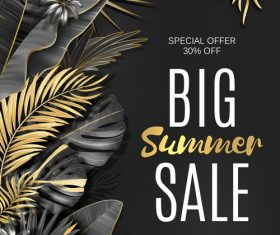 Gold palm with summer sale background vector