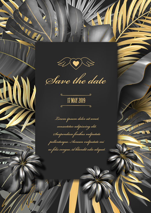 Gold palm with wedding invitation vector