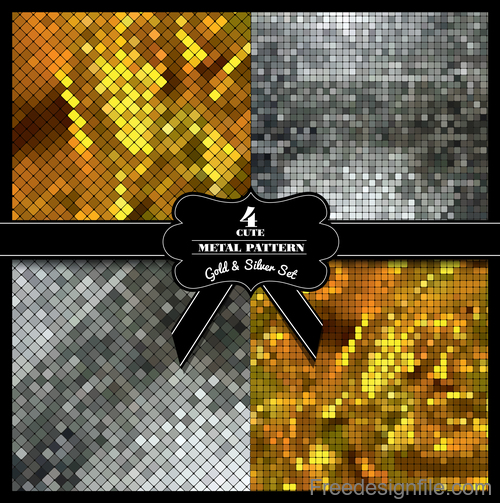 Gold with silver mosaic background vector