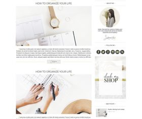 Golden with Pink Styles Blog PSD Template