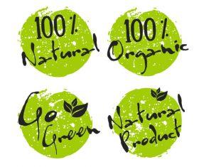 Green ecology bio labels design vector