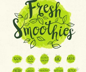 Green watercolor with ecology bio labels vector