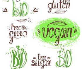 Hand drawn bio labels design vector 01
