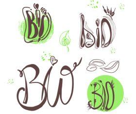 Hand drawn bio labels design vector 02