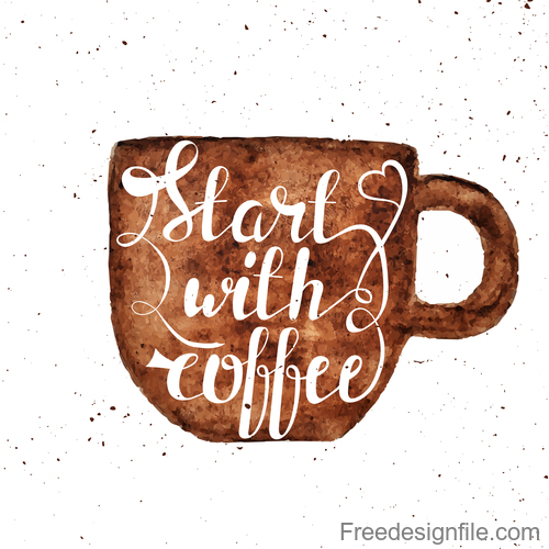 Hand drawn coffee cup stain vector