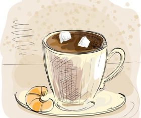 Hand drawn coffee with food vectors
