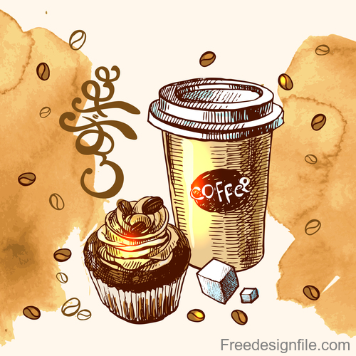 Hand drawn coffee with stain background vector