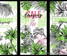 Hand drawn flower with sale banners vector