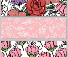 Hand drawn lines flower vector banners