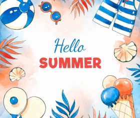 Hand drawn summer frame design vector 01