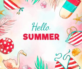 Hand drawn summer frame design vector 02