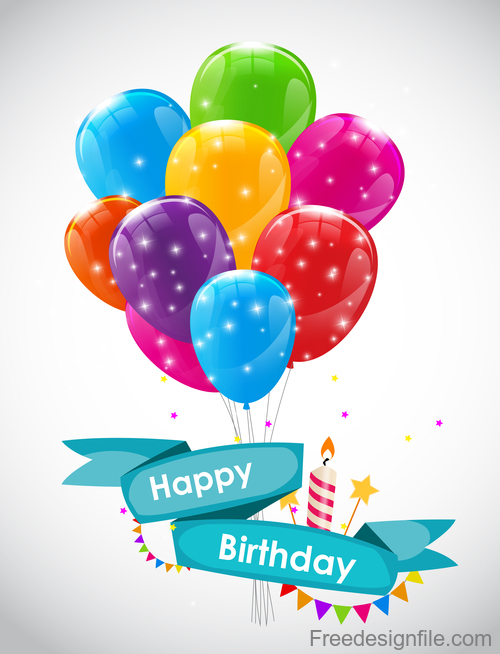 Happy birthday banner with colored balloons vector