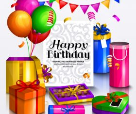 Happy birthday celebration design with gift boxs vector