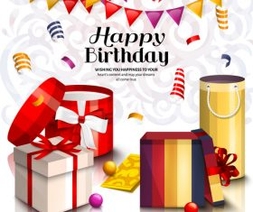 Happy birthday celebration with gifts design vector