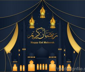 Happy eid mubarak festival design vector
