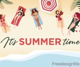 Happy women with summer beach vector