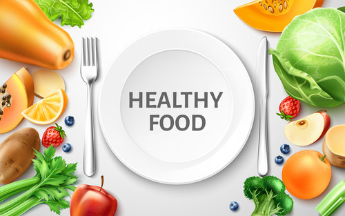 Healthy food background illustration vector material 01