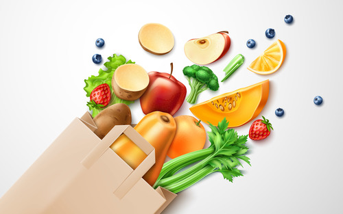 Healthy food background illustration vector material 02