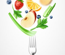 Healthy food background illustration vector material 04