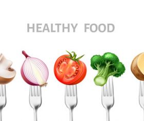 Healthy food with tableware vector