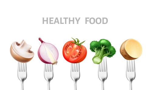 Healthy food with tableware vector