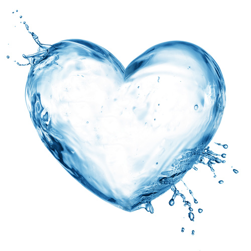 Heart from water splash with bubbles Stock Photo 01