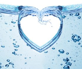 Heart from water splash with bubbles Stock Photo 02