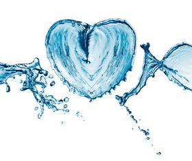 Heart from water splash with bubbles Stock Photo 03