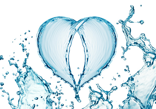 Heart from water splash with bubbles Stock Photo 04