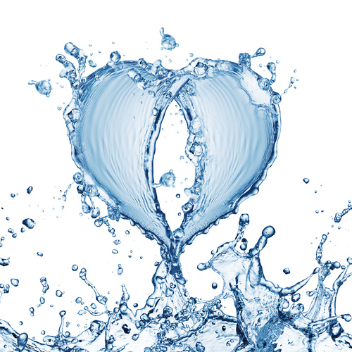 Heart from water splash with bubbles Stock Photo 05