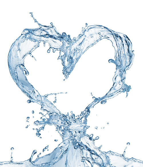 Heart from water splash with bubbles Stock Photo 06