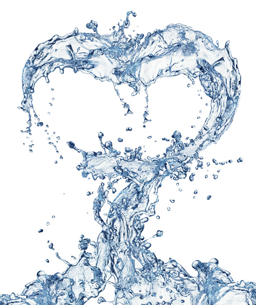 Heart from water splash with bubbles Stock Photo 07