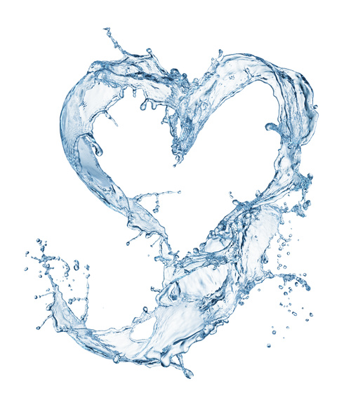 Heart from water splash with bubbles Stock Photo 08