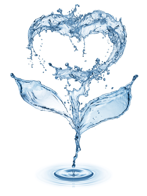 Heart from water splash with bubbles Stock Photo 09