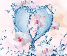 Heart from water splash with bubbles Stock Photo 10