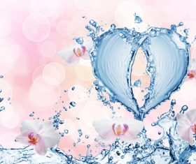 Heart from water splash with bubbles Stock Photo 12