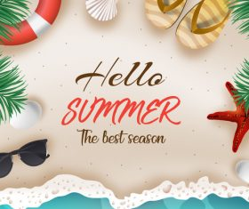 Hello summer best season vector design