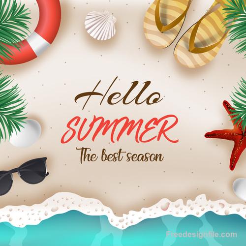 Hello summer best season vector design