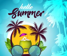 Hello summer design with palm tree vector