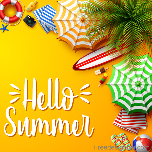 Hello summer design with yellow background vector