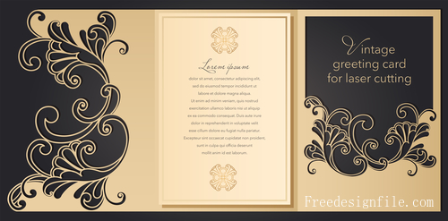 Hollowing out floral wedding greeting card vector template 01