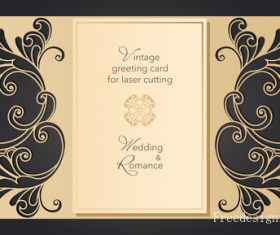 Hollowing out floral wedding greeting card vector template 03