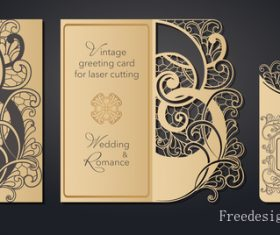 Hollowing out floral wedding greeting card vector template 04