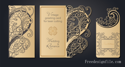 Hollowing out floral wedding greeting card vector template 05