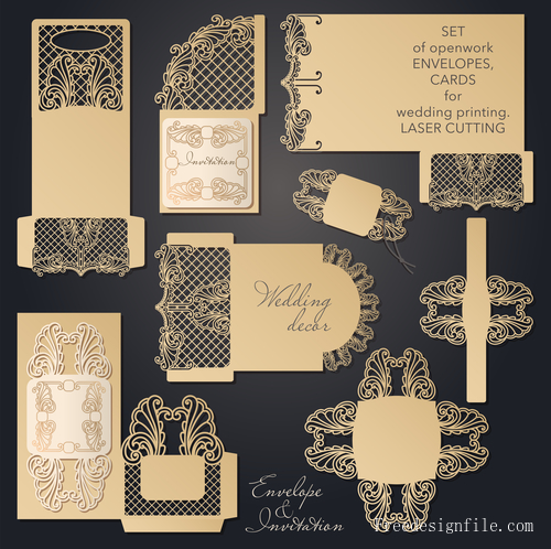 Hollowing out floral wedding greeting card vector template 06