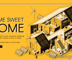 Home sweet isometric template design vector