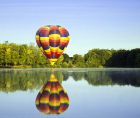 Hot air balloon water reflection Stock Photo