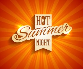 Hot summer night logo design vector