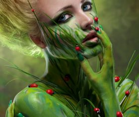 Human body green painting Stock Photo