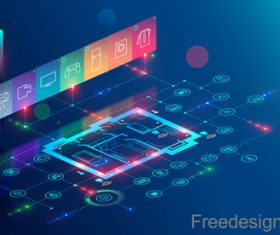 Internet digital technologies design vectors 04